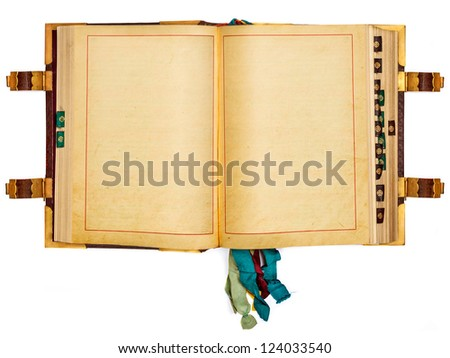 Vintage book with empty pages isolated on a white background - stock photo