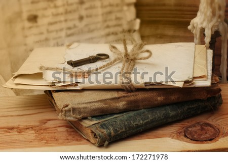 Vintage books and letters - stock photo