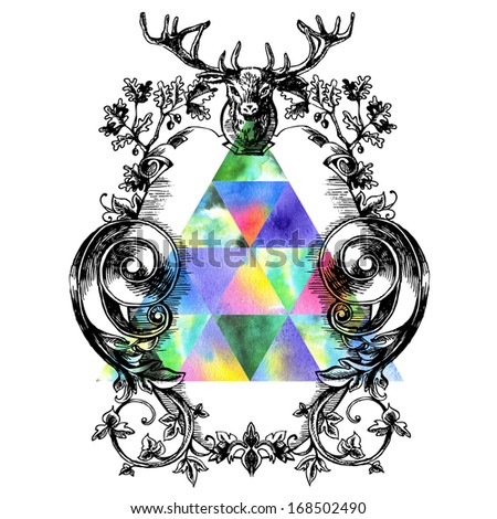 Vintage border frame engraving with retro ornament pattern in antique baroque style decorative design. Elegant baroque ornate with deer head and oak. Curves engraving frames. Coat of Arms - stock photo