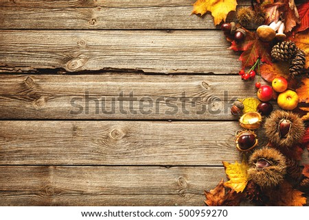 Vintage Border From Fallen Leaves And Fruits On The Old Wooden Table Thanksgiving Autumnal Background
