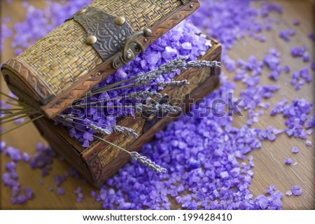 Vintage box with lavender and bath salt - stock photo