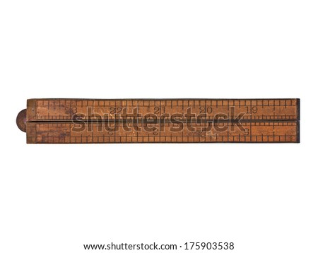 vintage boxwood and brass ruler over white, clipping path - stock photo