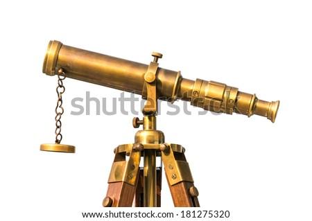 vintage brass telescope on white background - stock photo