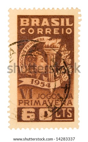 Vintage Brazil Postage Stamp on White Background