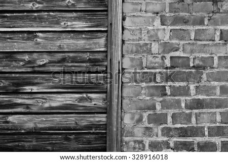 vintage brick and wood wall r texture  - stock photo