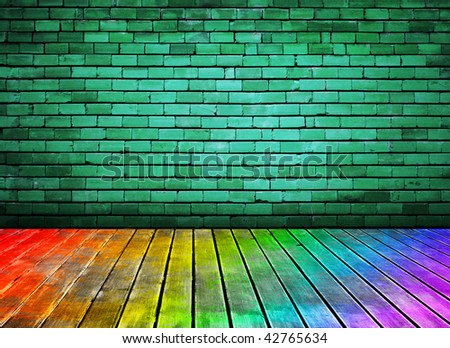 vintage brick wall and colorful wood floor texture interior - stock photo