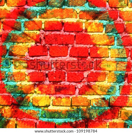 Vintage brick wall retro style rasta hat hippie background - stock photo