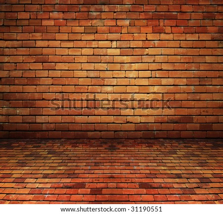 vintage bricks background texture - more interiors available - stock photo