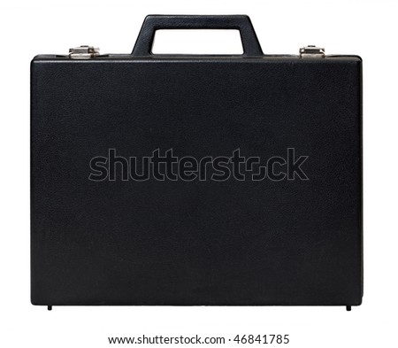 Vintage briefcase isolated on white - stock photo
