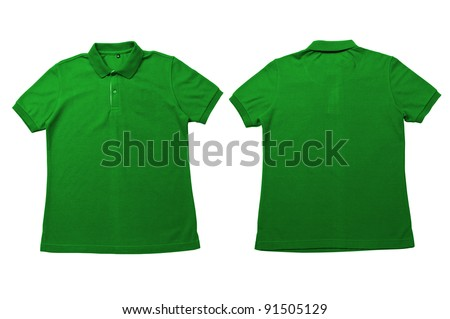 Vintage Bright Green color Polo Shirt with white background Men Front and back Polo Shirt - stock photo