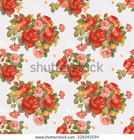 Vintage Bright seamless pattern with flowers. Elegance illustration - stock photo