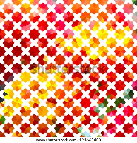 Vintage bright yellow and red defocused background with geometric ornament with crosses. Raster version - stock photo