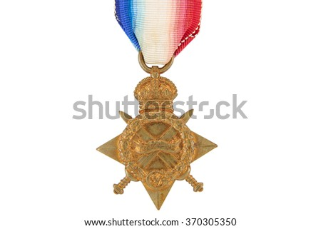 Vintage British military medal (star of merit) with ribbon, Mons Star, 1914-1915, world war one, isolated on white background