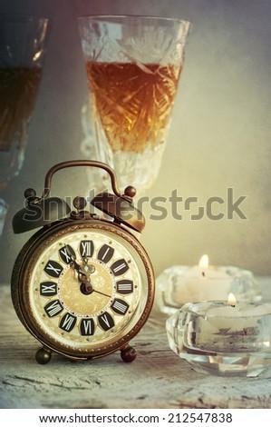 Vintage bronze alarm clock - stock photo