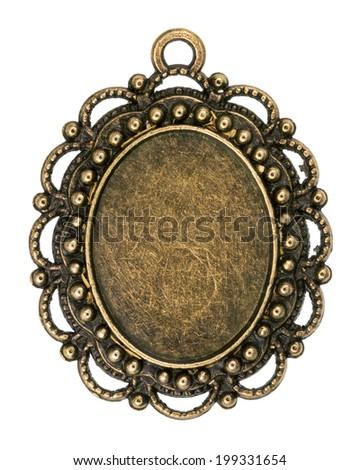 Vintage bronze pendant isolated on white background - stock photo
