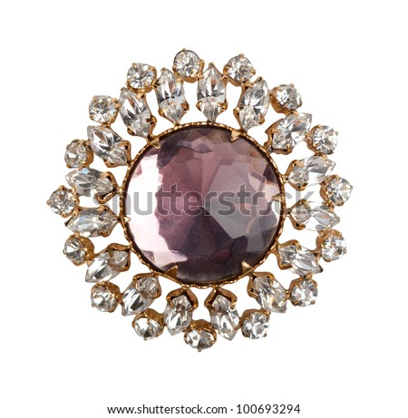 vintage brooch - stock photo