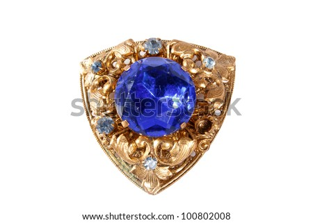 vintage brooch with a large amethyst  isolated on white background - stock photo