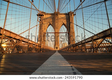 Vintage Brooklyn Bridge at sunrise, New York City