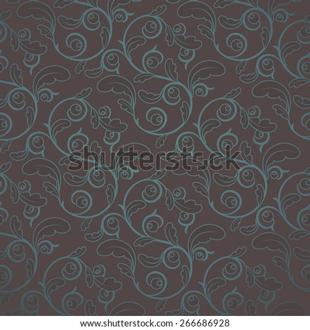 Vintage Brown And Blue Seamless Floral Pattern  - stock photo