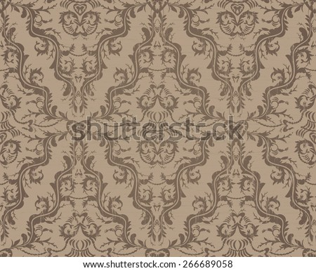 Vintage Brown And Blue Seamless Floral Pattern Ornament - stock photo