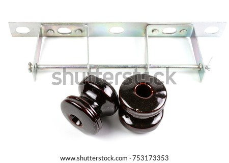 Vintage Brown Ceramic Wire Insulator Bolt Stock Photo (Royalty Free ...
