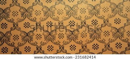 Vintage brown damask seamless pattern background - stock photo