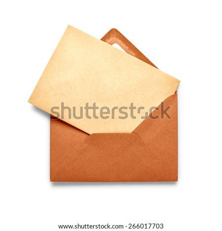 Vintage brown envelope with card isolated on white background.
