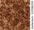 Vintage Brown Floral Tapestry - stock photo