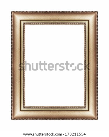 Vintage brown frame with blank space, with clipping path - stock photo