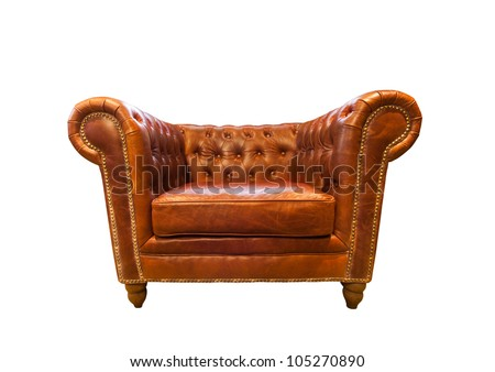 Vintage brown leather armchair isolated on white