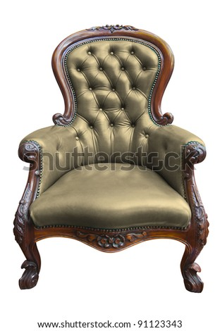 vintage brown leather armchair on white with clipping path