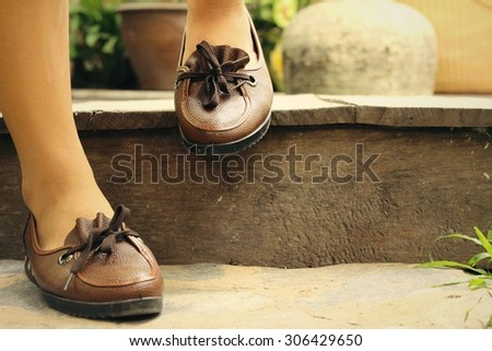 Vintage brown leather shoe
