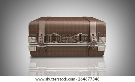 Vintage brown leather suitcase. High resolution 3d - stock photo