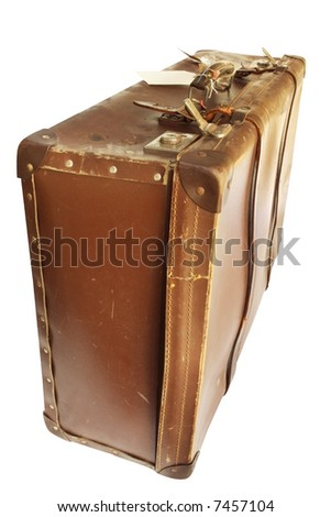 Vintage brown leather suitcase, well-worn.  Isolated on white. - stock photo