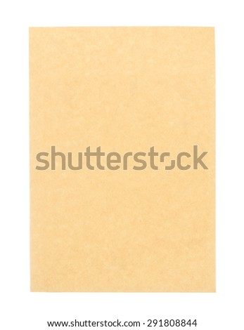 Vintage brown paper isolated on white background