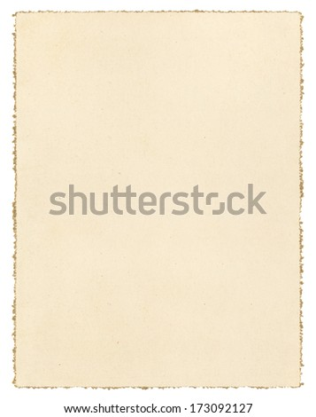 Vintage brown paper isolated on white with a decorative deckled edge.