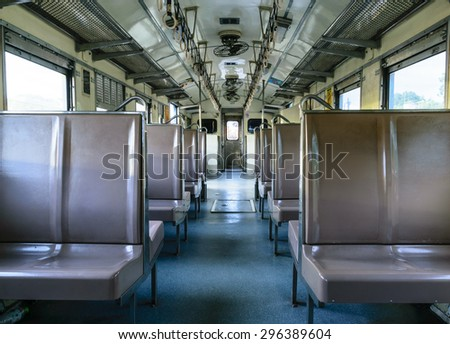 Vintage brown seats in train