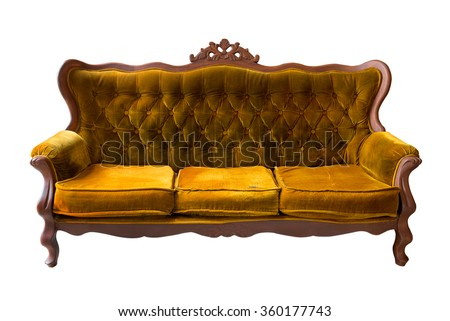 Vintage brown sofa isolated on white