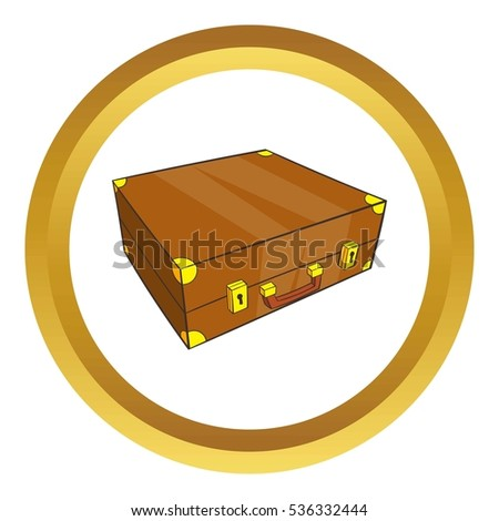 Vintage brown suitcase  icon in golden circle, cartoon style isolated on white background