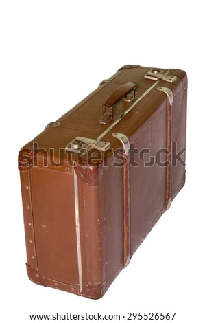 Vintage brown suitcase on white background. object