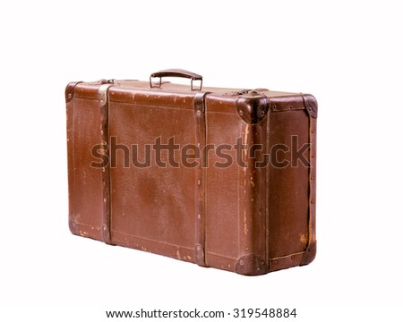 Vintage brown suitcase on white background old