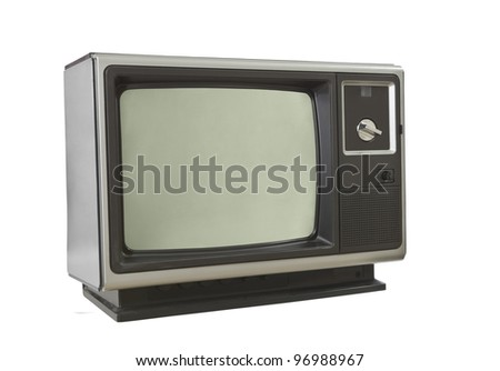 Vintage brown television set isolated on white.