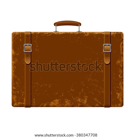 Vintage brown threadbare suitcase with straps and buckles isolated on white - stock photo
