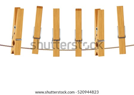 Vintage brown wooden clothespins, pegs illustration on white background.