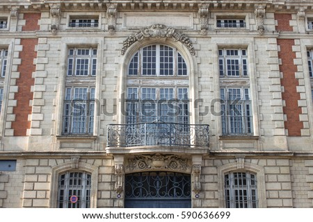 vintage building facade windows balcony doors stock photo royalty free 590636699 shutterstock. Black Bedroom Furniture Sets. Home Design Ideas