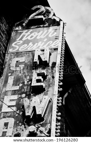 vintage building sign in black and white - stock photo