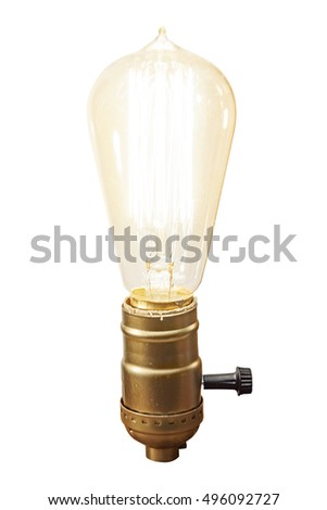 Vintage bulb lamp isolated on white