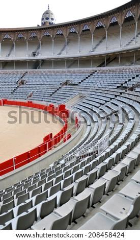 Vintage bullfighting stadium in Barcelona. Interior. - stock photo