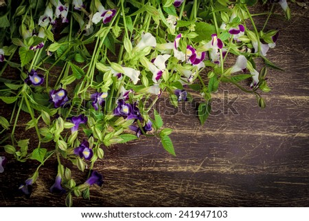 Vintage bunch of flower on wooden background