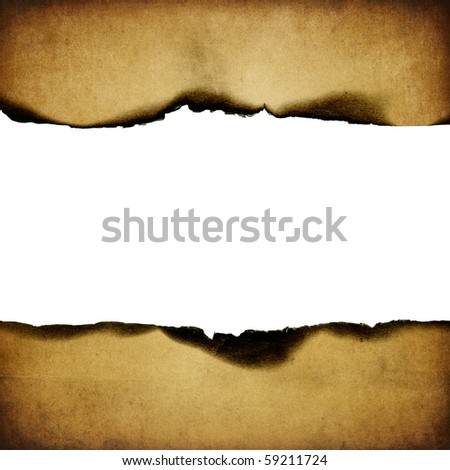 Vintage burned paper background, center part isolated (space for text). - stock photo